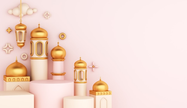 Decoración islámica del podio de la exhibición con la linterna árabe de la mezquita