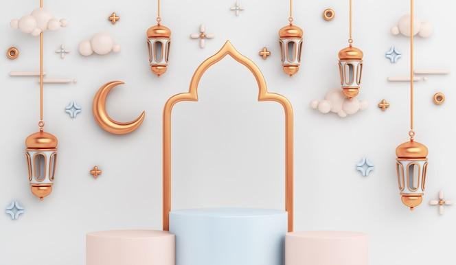 Decoración islámica del podio de la exhibición con la media luna árabe de la linterna