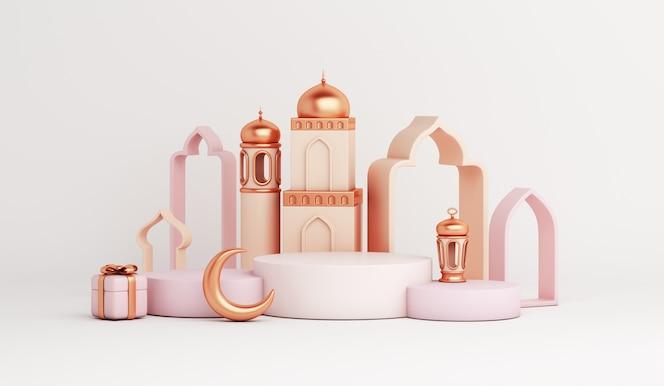 Decoración islámica del podio de la exhibición con la media luna de la linterna árabe de la mezquita
