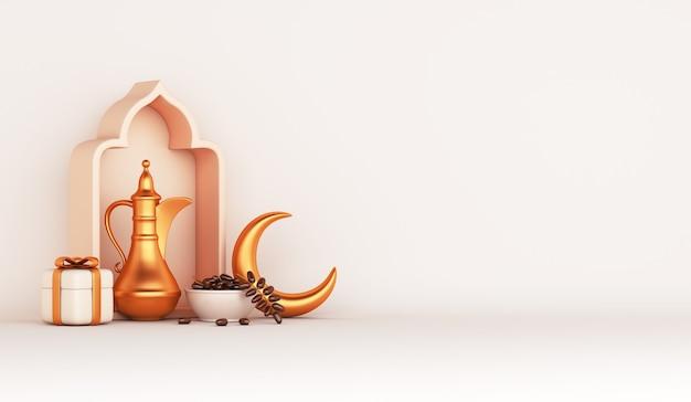 Decoración islámica con tetera árabe, fechas, caja de regalo de frutas, ilustración iftar de media luna