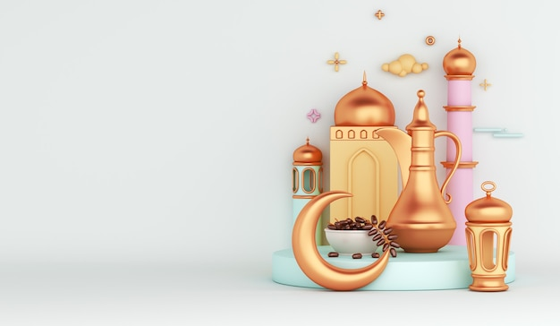 Decoración islámica con tetera árabe linterna fechas fruta regalo mezquita media luna iftar ilustración