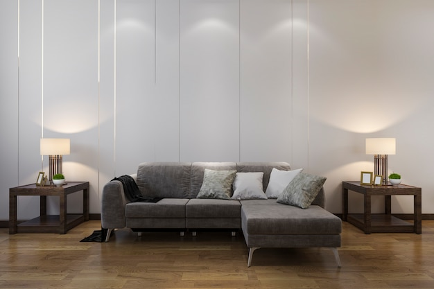 Decoración de madera de representación 3d en la sala de estar con sofá de estilo chino