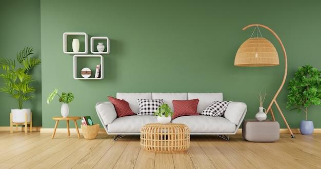 Decoración moderna para el hogar con elegantes sofás y muebles de ratán sobre fondo de pared verde