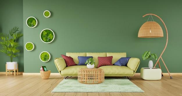 Decoración moderna para el hogar con sofá verde y muebles de ratán sobre fondo de pared verde