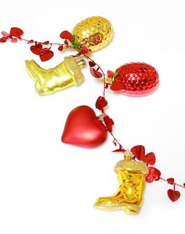 Decoración de navidad dorada y roja