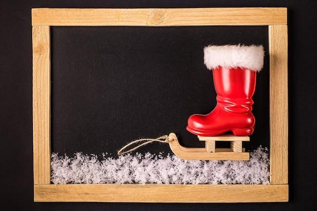 Decoración navideña y año nuevo hecha de marco.