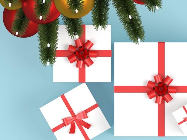 Decoración navideña en plantilla de fondo pastel.