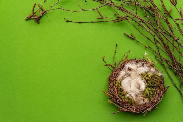 Decoración de pascua cero residuos, concepto de bricolaje. elemento de diseño y decoración. nido de pájaro, musgo, ramas de abedul, pluma. fondo verde