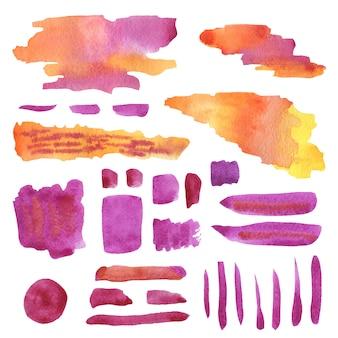 Decoraciones de acuarela en colores rosa y naranja.