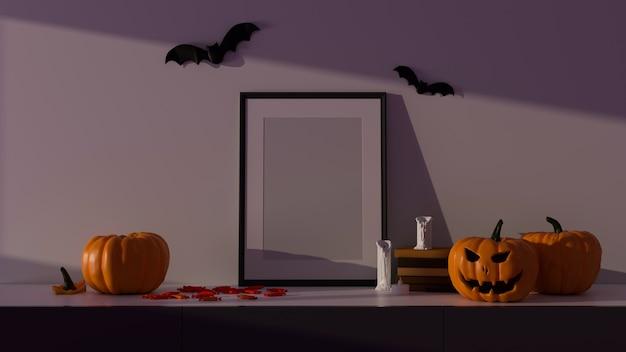 Decoraciones de fiesta de halloween con marco de maqueta y lámparas de calabaza en la sala de estar ilustración 3d de renderizado 3d