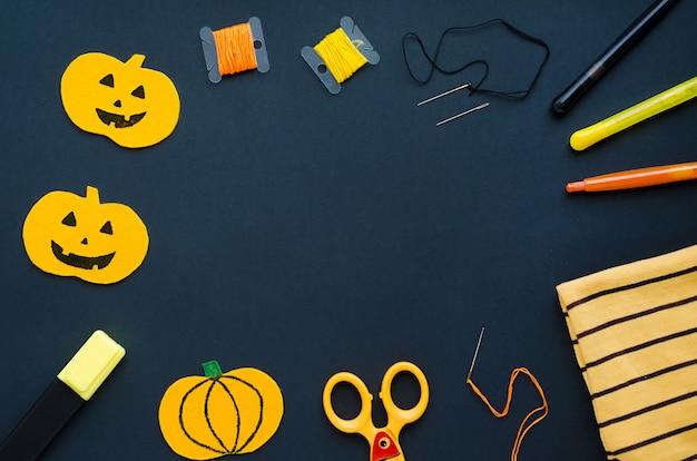 Decoraciones de halloween, artículos de costura, fabricación de calabaza textil, artesanía hecha a mano.