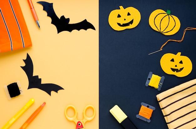Decoraciones de halloween, artículos de costura que hacen manualidades textiles de calabaza, murciélagos hechos a mano, araña