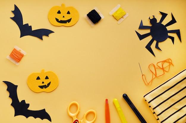 Decoraciones de halloween, artículos de costura que hacen manualidades textiles de calabaza, murciélagos negros hechos a mano, araña