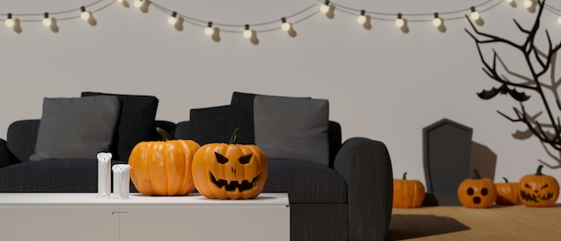 Decoraciones de halloween decoradas en la sala de estar con lámparas de calabaza representación 3d de la fiesta de halloween