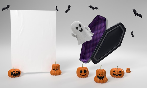 Decoraciones de halloween con fantasma y ataúd.