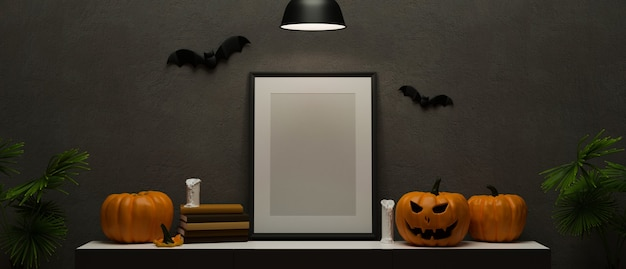 Decoraciones de halloween con lámpara de calabaza de marco de maqueta y cosas aterradoras decoradas en la habitación representación 3d