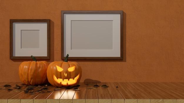 Decoraciones de halloween con lámparas de calabaza en la mesa y marcos de maquetas en la pared ilustración 3d de renderizado 3d