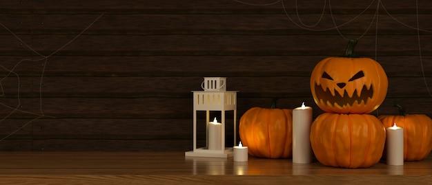Decoraciones de halloween con lámparas de calabaza y velas en el piso de la sala de estar 3d rendering