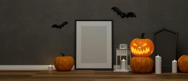 Decoraciones de halloween con marco de maqueta lámpara de calabaza tumba y cosas aterradoras decoradas en la habitación render 3d