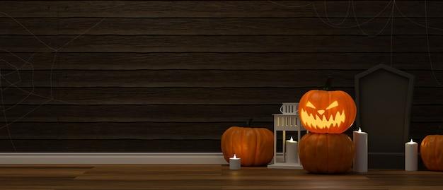 Decoraciones de halloween con velas de lámparas de calabaza y cosas aterradoras en el piso de la sala de estar 3d rendering