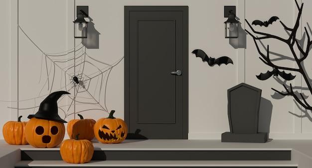 Decoraciones para el hogar de halloween con lámparas de calabaza y elementos de miedo decorados frente a la representación 3d de la puerta