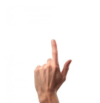 Dedo arriba en blanco