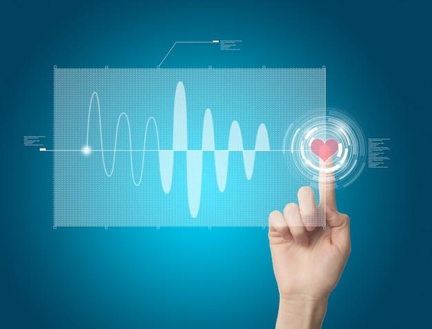 Dedo pulsando el corazón virtual para ver la gráfica