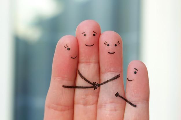 Dedos del arte de la familia. concepto de amor, amistad, felicidad.
