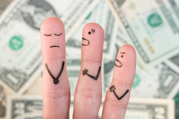 Dedos arte de la familia durante la pelea de dinero. concepto de esposa e hijo gritar al marido.