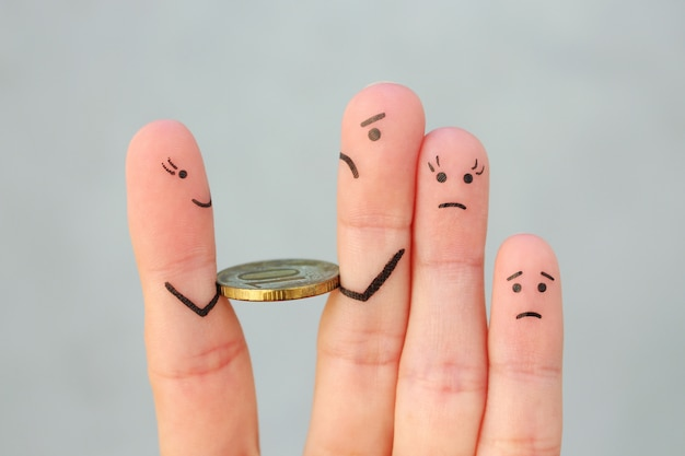 Dedos del arte de la tristeza familiar. el hombre devuelve dinero.