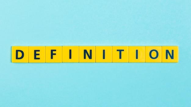 Definición de la palabra en los azulejos scrabble