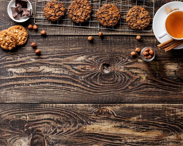 Deliciosas galletas endecha plana