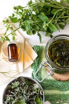 Delicioso caldo té menta bálsamo de limón agua floral