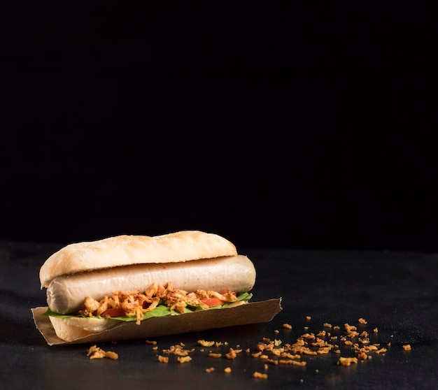 Delicioso hot dog de comida rápida en el espacio de copia de papel para hornear