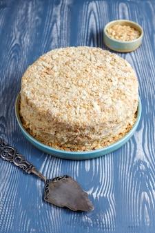 Delicioso pastel casero de napoleón, vista superior