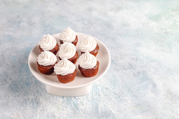 Deliciosos mini cupcakes de chocolate.