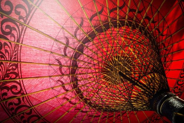 Dentro del paraguas tradicional rojo