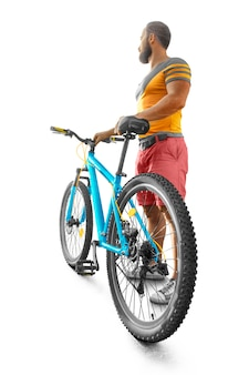 Deporte. ciclista aislado. vista trasera. bicicleta. hombre