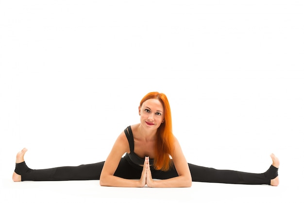 Deportivo, joven, mujer, yoga, asana