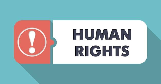 Derechos humanos en azul en diseño plano con largas sombras.
