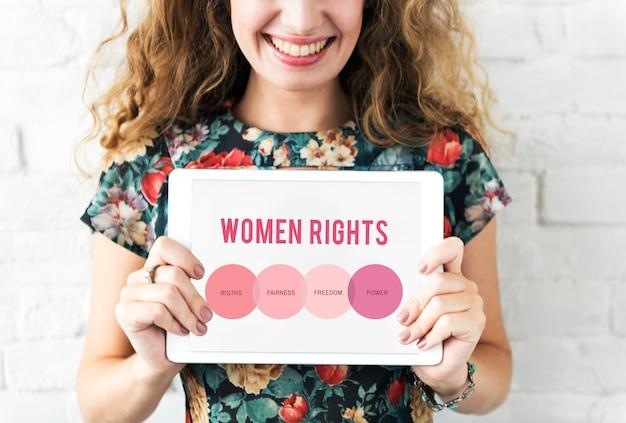 Derechos de las mujeres concepto de igualdad de oportunidades de género humano