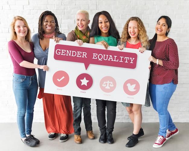 Derechos de las mujeres igualdad de oportunidades equidad feminismo concepto