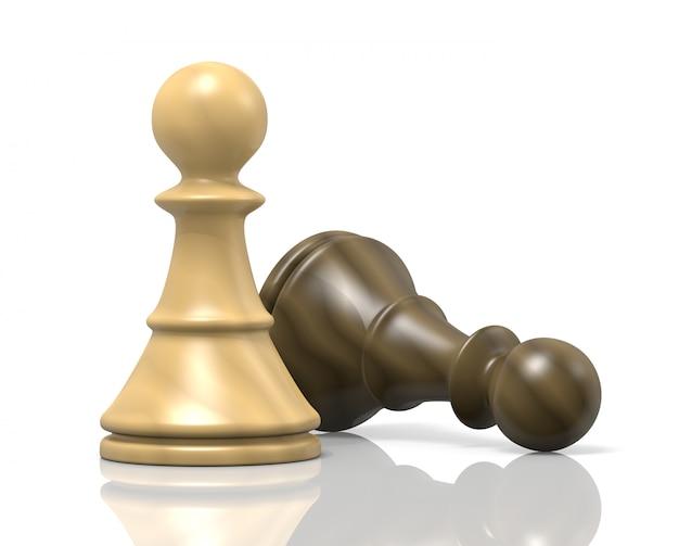 Derrota, dos peones de ajedrez