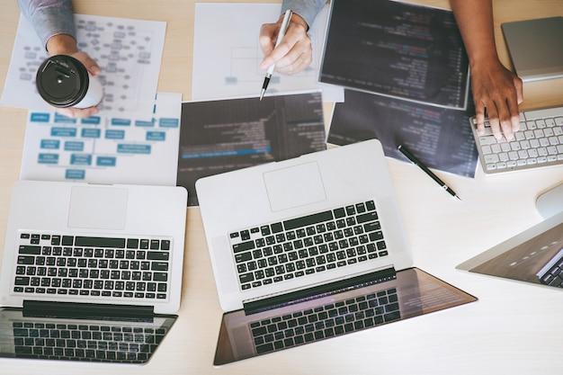 Desarrollador profesional, programador, reunión de cooperación y lluvia de ideas y programación en el sitio web trabajando una tecnología de codificación y outsourcing de software