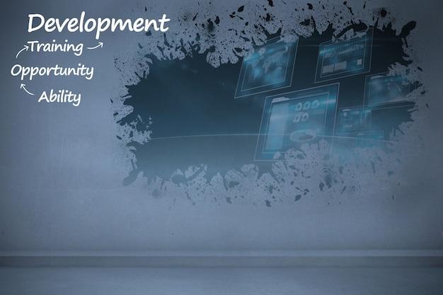 Desarrollo con fondo abstracto
