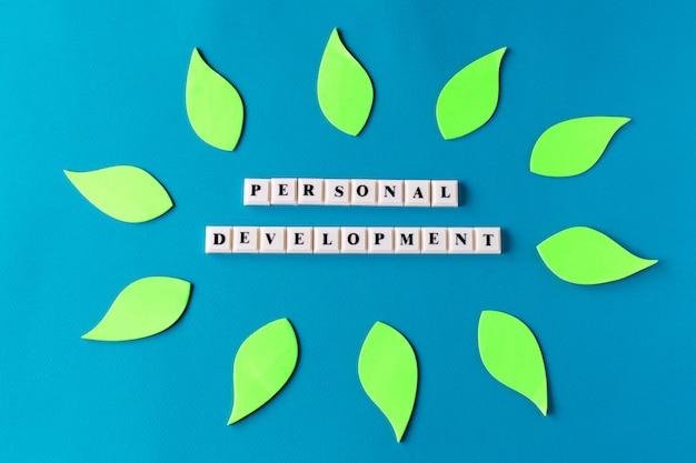 Desarrollo personal, texto en cubos de plástico sobre fondo azul.