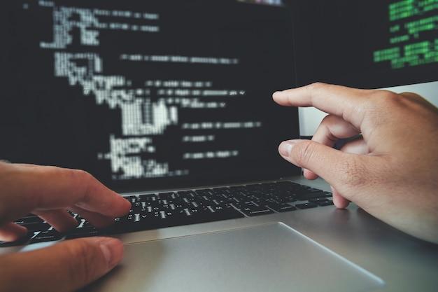 Desarrollo de programadores desarrollo de diseño de sitios web y tecnologías de codificación funcionando.