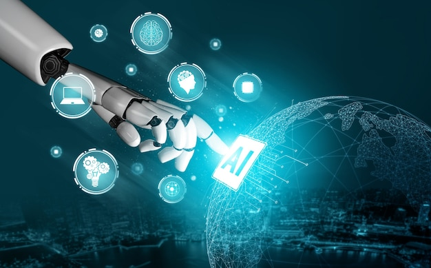 Desarrollo de tecnología de robot futurista de renderizado 3d, inteligencia artificial ai y concepto de aprendizaje automático
