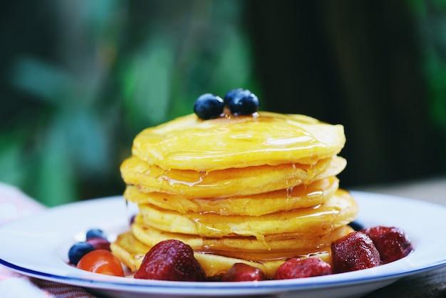 Desayuno de panqueques comida saludable casera