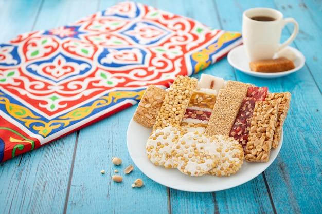 Desayuno profeta egipcio muhammad celebración cumpleaños postres